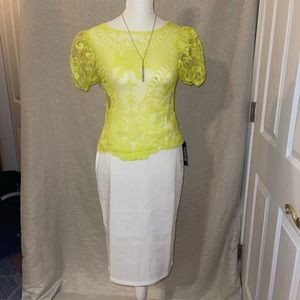 NEON YELLOW LACE TOP